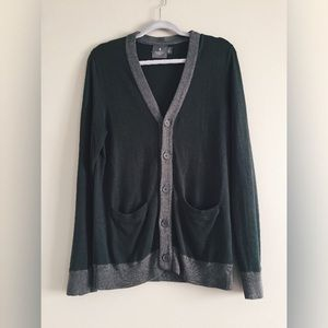 green & grey button up men's small unisex cardigan